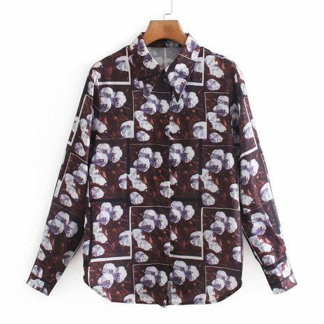 wholesale autumn new women's fashionable printing loose shirt  NHAM244169's discount tags