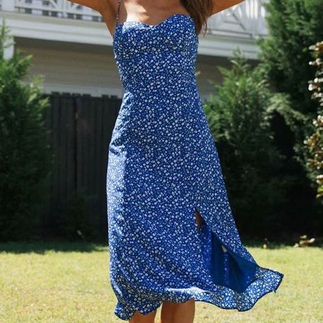Autumn new Hot Sale Retro Slim Side Slit Print Sling Dress wholesale NHAM244182's discount tags