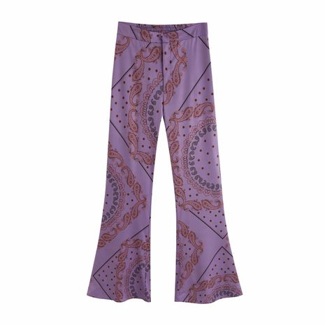 wholesale new autumn printed bell bottom pants women's casual pants  NHAM244183's discount tags