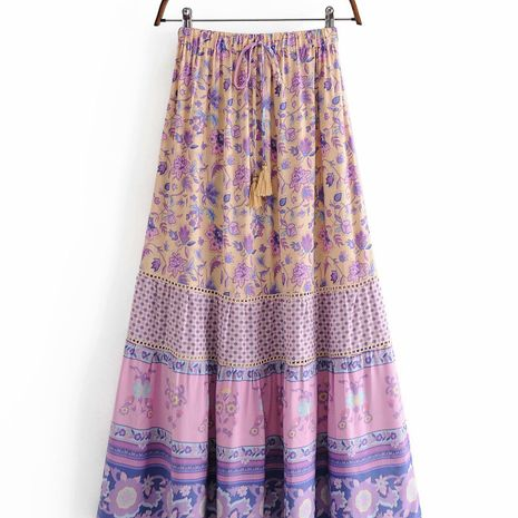 wholesale autumn rayon flower stitching lace fringed skirt for women NHAM244184's discount tags