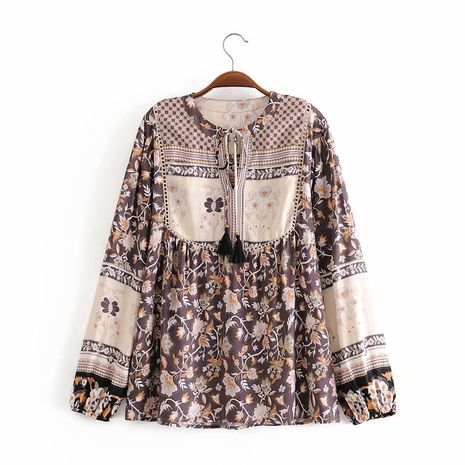 Wholesale autumn rayon flower stitching lace fringed women's ethnic holiday shirt  NHAM244185's discount tags