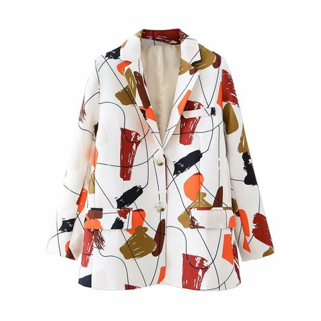 wholesale graffiti abstract print suit collar single breasted long sleeve suit for women NHAM244187's discount tags