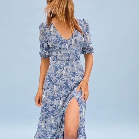 summer and autumn print waist hem sexy split V-neck dress for women wholesale NHAM244189's discount tags