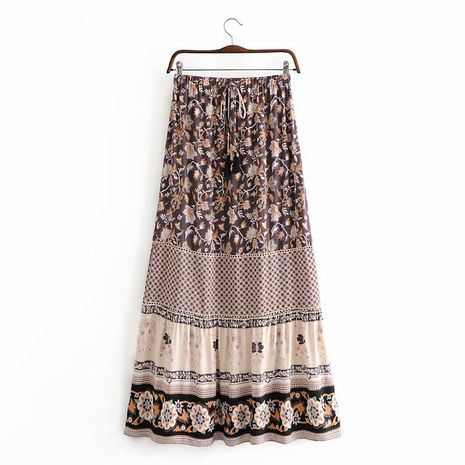 wholesale autumn rayon flower stitching lace fringed skirt for women NHAM244193's discount tags