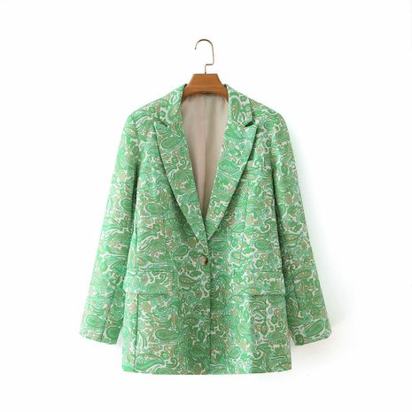 wholesale suit collar green leaves cashew flower print double pocket suit  NHAM244196's discount tags
