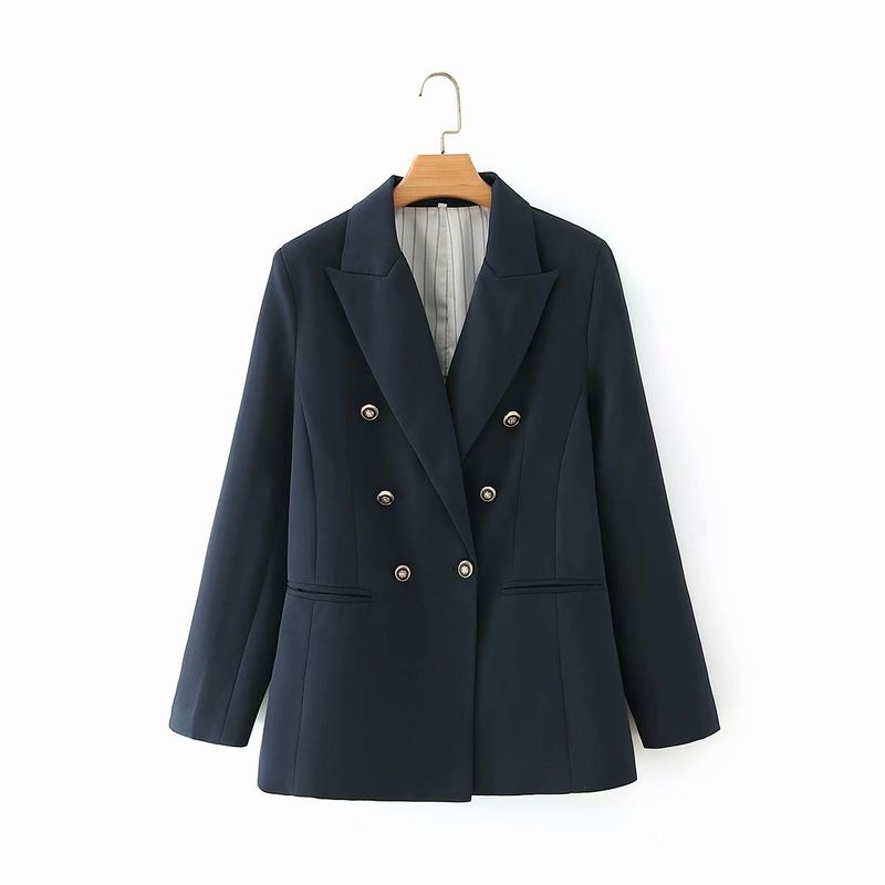 wholesale metal double-breasted collar mid-length suit jacket for women NHAM244197
