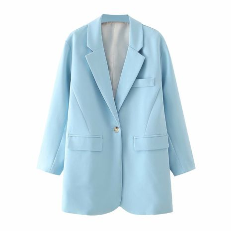 wholesale women's shoulders long one button suit suit loose casual jacket  NHAM244198's discount tags