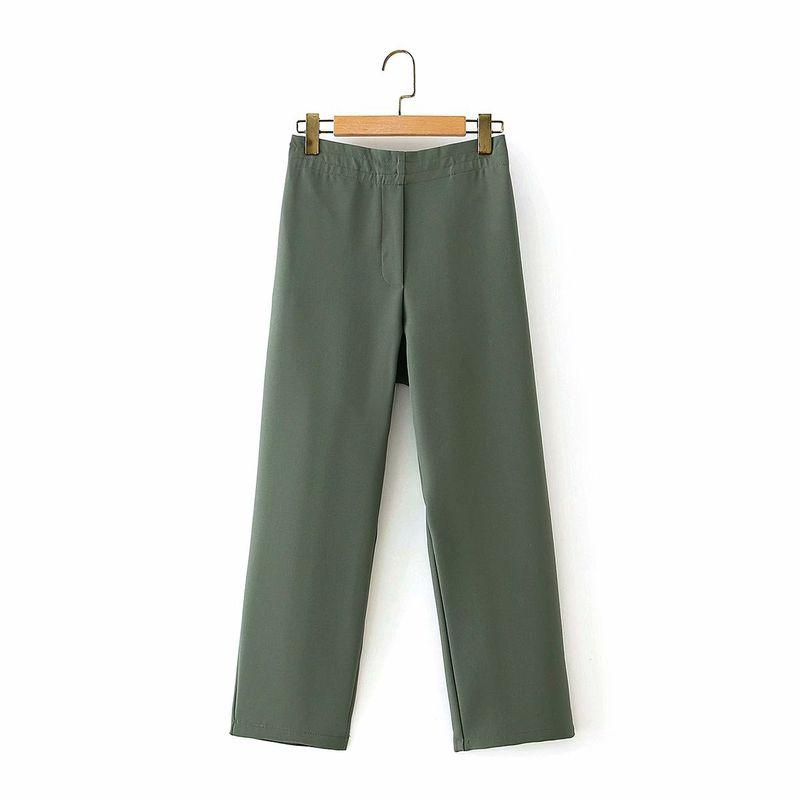wholesale women's pure color elastic waist slimming suit nine-point autumn new pants  NHAM244203