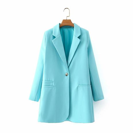 wholesale autumn new streamlined solid color one button accent jacket  NHAM244206's discount tags