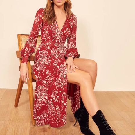 Wholesale Autumn Waist Bandage V-Neck Split Wrap Long Sleeve Dress for women NHAM244211's discount tags