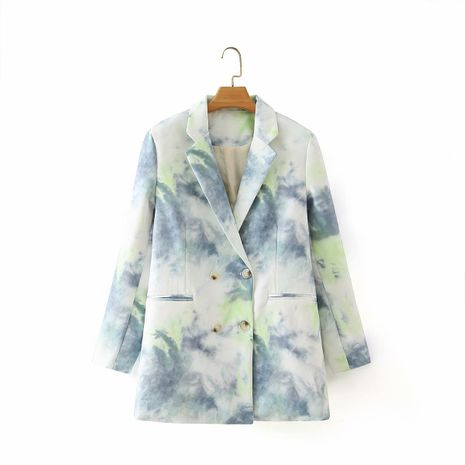 wholesale summer women's lapel long-sleeved tie-dye printing double-breasted blazer  NHAM244215's discount tags