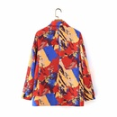 wholesale red blue and yellow graffiti long sleeve double breasted midlength suit jacket for women NHAM244216