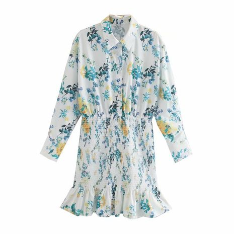 wholesale autumn flower print long sleeve short dress for women NHAM244217's discount tags