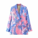 wholesale tiedye printed doublebreasted casual suit jacket for women NHAM244218