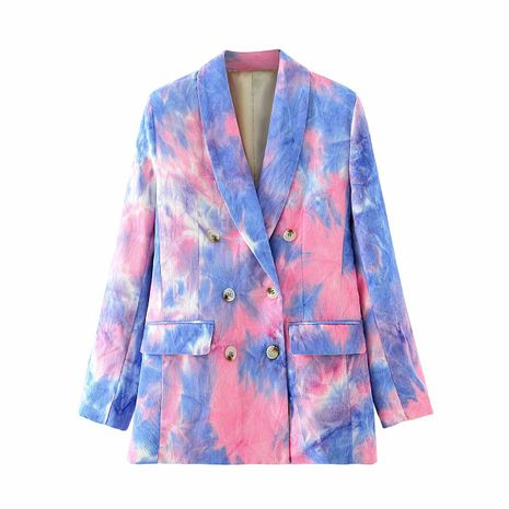wholesale tie-dye printed double-breasted casual suit jacket for women NHAM244218's discount tags