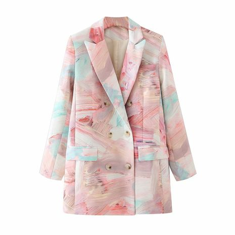 wholesale foundation graffiti double-breasted mid-length suit jacket  NHAM244220's discount tags