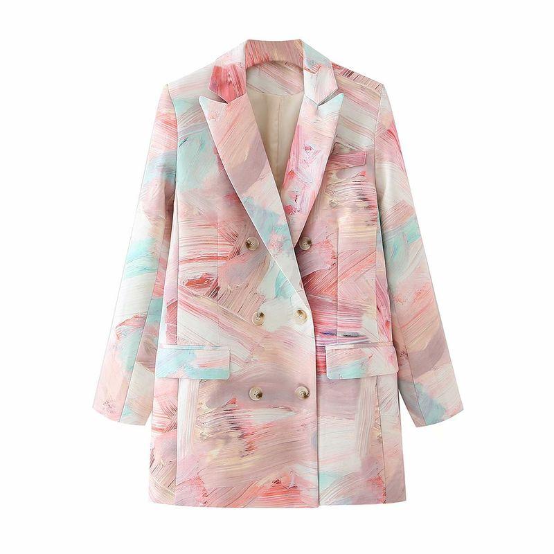 wholesale foundation graffiti double-breasted mid-length suit jacket  NHAM244220