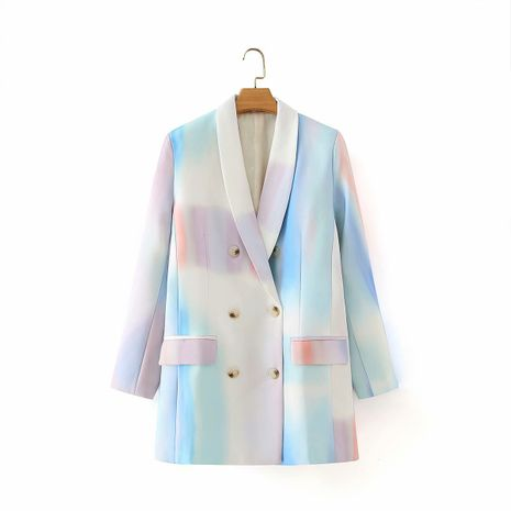 wholesale colorful tie-dye double-breasted lapel mid-length jacket for women  NHAM244221's discount tags