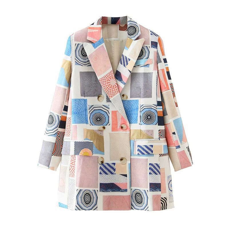 wholesale women's new space print double breasted jacket  NHAM244223
