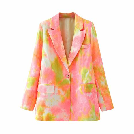 wholesale tie-dye printed rolled-up sleeves loose casual suit women's jacket  NHAM244224's discount tags