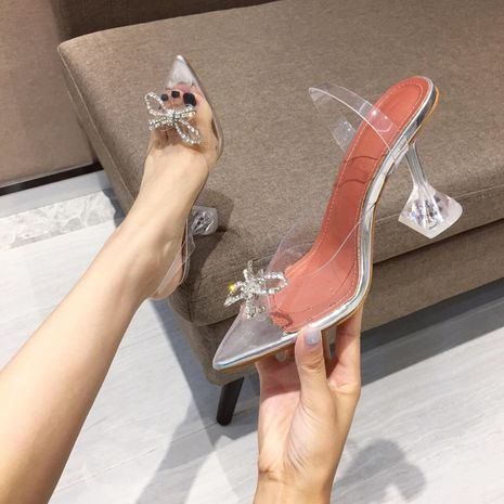 Fashion women's autumn new transparent belt bow rhinestone pointed sexy high heel sandals NHHU244229's discount tags