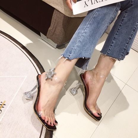 autumn new sun rhinestone high heel square toe open toe transparent strap sexy sandals NHHU244230's discount tags