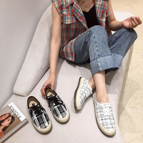 Korean autumn new flat bottom shoes tide canvas casual lace fisherman shoes wholesale nihaojewelry NHHU244234's discount tags