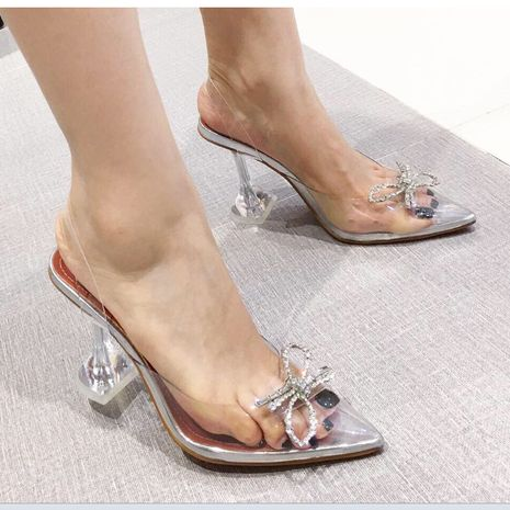 new women's transparent rhinestone bow sandals crystal shoes NHSO244239's discount tags