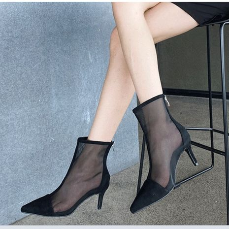 new women's breathable net boots pointed toe stiletto ankle boots sandals  NHSO244247's discount tags