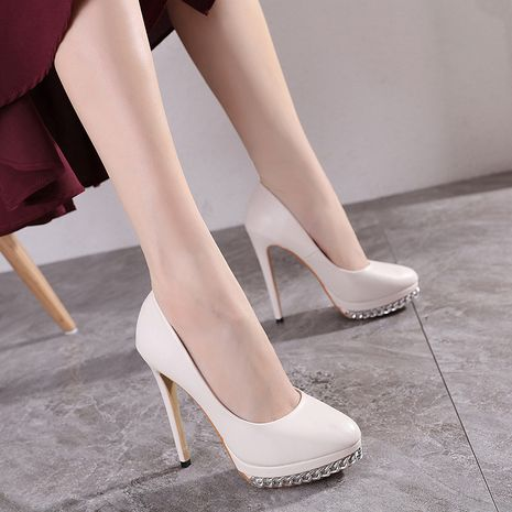new women's round head shallow mouth chain decoration stiletto shoes wholesale nihaojewelry NHSO244249's discount tags