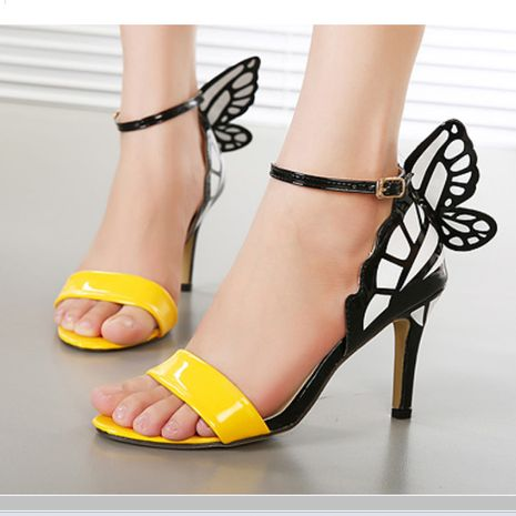 new high-heeled word with stiletto butterfly wings color matching women's sandals  NHSO244251's discount tags