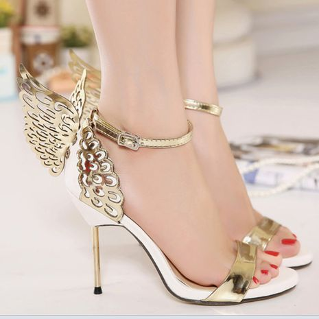 new women's butterfly wings one word buckle high heel sandals stiletto open toe shoes  NHSO244253's discount tags