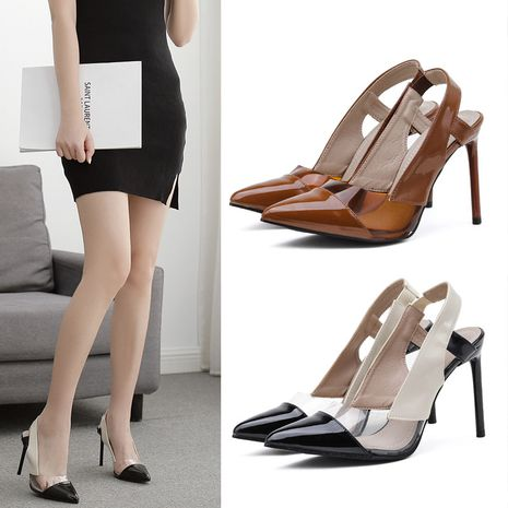new women's pointed toe stitching hollow stiletto high heels hit color sexy shoes wholesale nihaojewelry NHSO244254's discount tags