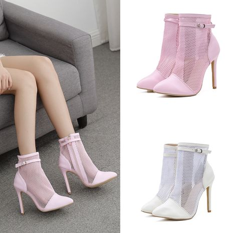 new women's Roman short sandals stiletto high-heeled buckle hollow mesh boots  NHSO244256's discount tags
