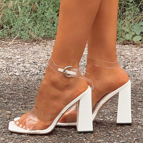 new women's square toe thick cross sexy transparent high heel one word buckle sandals  NHSO244258's discount tags