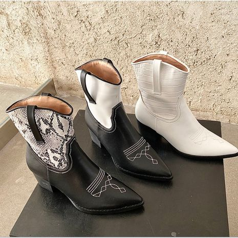 new pointed toe thick heel retro short boots sleeve women's boots  NHSO244261's discount tags