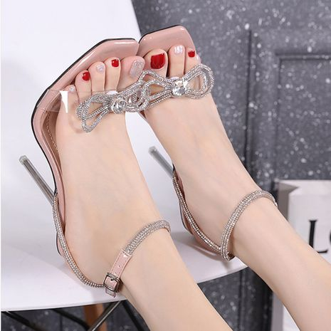Fashion new women's transparent high-heeled rhinestone butterfly sandals  NHSO244264's discount tags