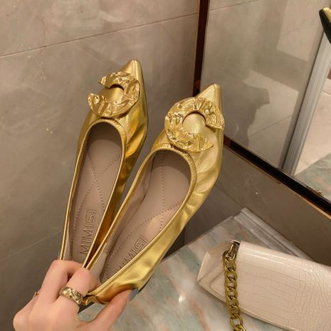 pointed flat shoes shallow shoes stiletto letter round C buckle solid color shoes wholesale nihaojewelry NHCA244267's discount tags