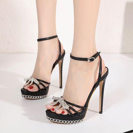 new metal bowknot rhinestone buckle combination water platform high-heeled sandals NHCA244274's discount tags
