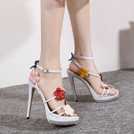 new white high heels hand-made flower sandals for women wholesale NHCA244275's discount tags