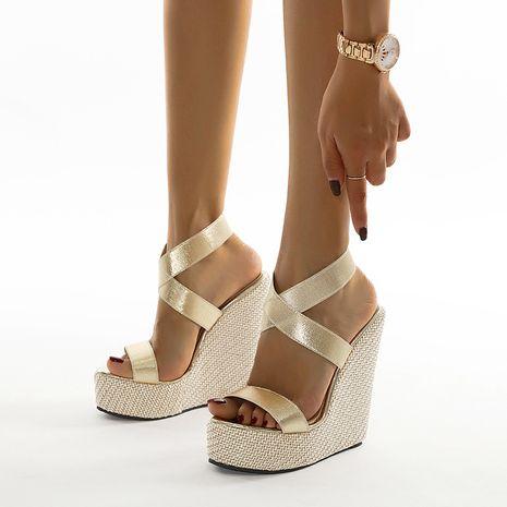 new women's hemp rope wedge waterproof platform high-heel sandals  NHCA244287's discount tags