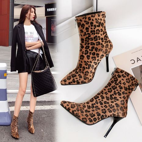 winter new pointed toe zipper rivet leopard print stiletto women's Martin boots  NHCA244290's discount tags