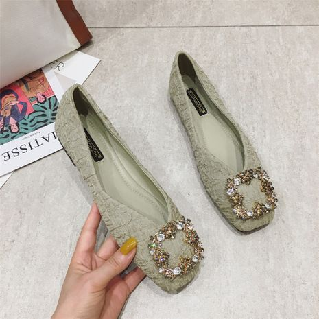 Flat shoes fashion square toe rhinestone buckle soft bottom comfortable flat heel shoes wholesale nihaojewelry NHCA244292's discount tags