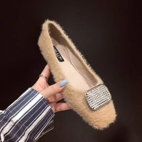 Korea sweet small bow knot round mink cotton lamb wool shoes soft sole shoes wholesale nihaojewelry NHCA244294's discount tags
