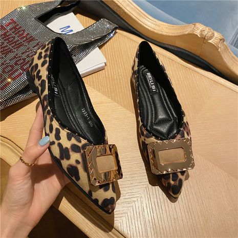 flat fashion rhinestone metal square buckle pointed toe shallow soft sole shoes wholesale nihaojewelry NHCA244296's discount tags