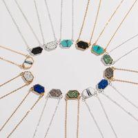 Collar con colgante de diamantes turquesa de racimo de cristal multicolor simple de moda NHAN244401