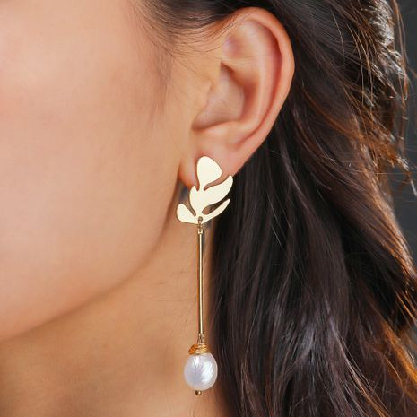 golden leaf  natural pearl  fashion hand-wound earrings wholesale  NHAN244404's discount tags