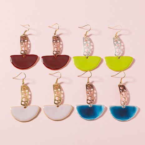 fashion hot-selling golden  hollow strips colorful paint fan-shaped earrings NHAN244406's discount tags