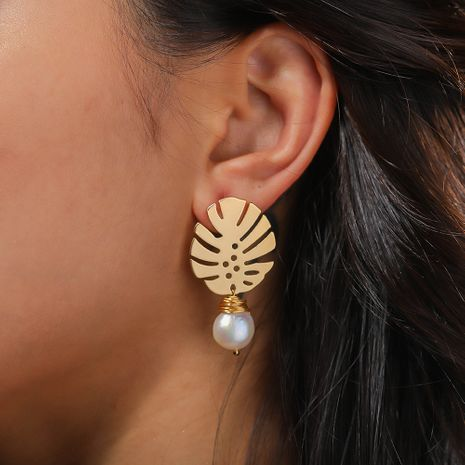 hot-selling golden banana leaf  hand-wound natural pearl pendant earrings  NHAN244408's discount tags