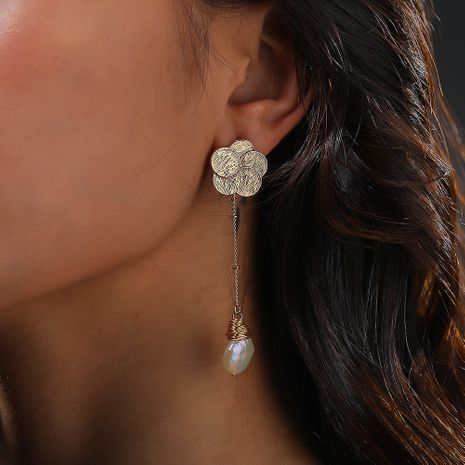 creative new plum blossom ear hook hand-woven natural pearl earrings wholesale NHAN244412's discount tags